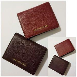 Michael Kors Leather Card Case Wallet Bundle